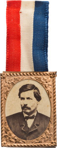 Political:Ferrotypes / Photo Badges (pre-1896), George McClellan: Gem Albumen Badge with Ribbon....