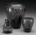 American Indian Art:Pottery, Three Santa Clara Blackware Jars... (Total: 3 Items)