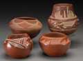 American Indian Art:Pottery, Four Santa Clara/San Juan Redware Jars ... (Total: 4 Items)