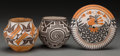 American Indian Art:Pottery, Three Acoma Polychrome Vessels... (Total: 3 Items)