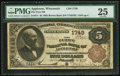 National Bank Notes:Wisconsin, Appleton, WI - $5 1882 Brown Back Fr. 471 The First NB Ch. # 1749. ...