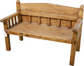 Furniture : Continental, An Iberian Pyrenees Carved Pine Bench. 34-1/2 h x 53 w x 24 dinches (87.6 x 134.6 x 61.0 cm). ...