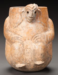 Pre-Columbian:Ceramics, A Maya Orangeware Vessel with Crouching Monkey . ...