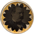 Political:Ferrotypes / Photo Badges (pre-1896), Grover Cleveland: Ferrotype Bridle Rosette....