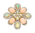 Estate Jewelry:Brooches - Pins, Coral, Opal, Diamond, Gold Pendant-Brooch, Casbah. ...