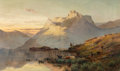 Paintings, Alfred de Bréanski (British, 1852-1928). The peaks of the Western Highlands. Oil on canvas. 30-1/4 x 50 inches (76.8 x 1...