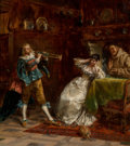Fine Art - Painting, European:Antique  (Pre 1900), Albert Friedrich Schröder (German, 1854-1939). Music to myears, 1885. Oil on canvas. 17 x 15-1/4 inches (43.2 x 38.7cm...