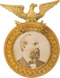 Political:Ferrotypes / Photo Badges (pre-1896), James A. Garfield: A Most Unusual Large 1880 Photo Badge inNear-mint Condition....