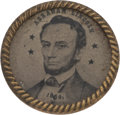 Political:Ferrotypes / Photo Badges (pre-1896), Abraham Lincoln: Small Dated Ferrotype....