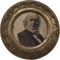 Political:Ferrotypes / Photo Badges (pre-1896), Horace Greeley: A Dramatic, Oversized Ferrotype Buckle....