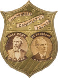 "Political:Ferrotypes / Photo Badges (pre-1896), Hayes & Wheeler: The Best Jugate Pin for these ""CentennialCandidates for 1876."" ..."