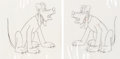 Animation Art:Production Cel, Pluto Inker Test Cels Group of 5 (Walt Disney, 1940s).... (Total: 5)