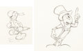 Animation Art:Production Drawing, Pinocchio Jiminy Cricket Rough Animation Drawings (WaltDisney, 1940).... (Total: 2 Illustration Art)