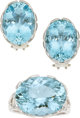 Aquamarine, Diamond, White Gold Jewelry Suite, Paloma Picasso for Tiffany & Co. ... (Total: 3 Items)