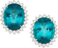 Estate Jewelry:Earrings, Tourmaline, Diamond, Platinum Earrings, Tiffany & Co.. ... (Total: 2 Items)