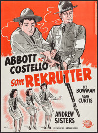"Buck Privates (Universal International, 1949). First Post-War Release Danish Poster (24.25"" X 33.5""). Comedy..."