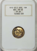 German States:Bavaria, German States: Bavaria. Ludwig III gold plated copper Proof 10 Mark1913 PR64 NGC,...