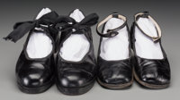 Shirley Temple - Two Pairs of Personally Owned and Used Childhood Tap Shoes.  Two pairs of black leather tap sh