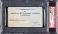 Football Collectibles:Tickets, 1921 National Football League Season Pass from The Joe Carr Find....