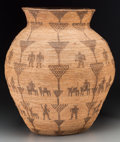 American Indian Art:Baskets, An Apache Pictorial Coiled Storage Jar. c. 1900...