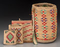 American Indian Art:Beadwork and Quillwork, Four Plateau Twined Cornhusk Items. c. 1910 - 1930... (Total: 4Items)