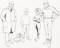 animation art:Model Sheet, Jonny Quest Size Comparison Model Sheet (Hanna-Barbera,1964)....