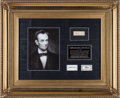 Political:Presidential Relics, Abraham Lincoln: Strands of Hair and Funeral Train Relic....