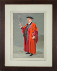 Theodore Roosevelt: Large Original Watercolor Showing Him Attired for a College Commencement