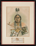 Autographs:Celebrities, Sitting Bull: Clipped Signature Display....