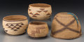American Indian Art:Baskets, Four California Twined Basketry items. c. 1900 - 1940... (Total: 4Items)