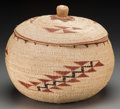 American Indian Art:Baskets, A Large Klamath Polychrome Twined Basket with Lid. c. 1930...