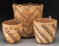 American Indian Art:Baskets, Three Plateau /Northwest Coast Imbricated Baskets. c. 1900 -1930... (Total: 3 Items)