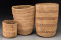 American Indian Art:Baskets, Three West Coast Twined Basketry Items. c. 1910... (Total: 3 Items)
