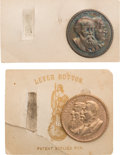 Political:Ferrotypes / Photo Badges (pre-1896), Cleveland & Thurman and Harrison & Morton: Jugate CopperShell Studs.... (Total: 2 Items)