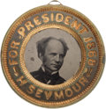 Political:Ferrotypes / Photo Badges (pre-1896), Horatio Seymour: Back-to-Back Ferrotype....