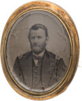 Political:Ferrotypes / Photo Badges (pre-1896), Ulysses S. Grant: Large Oval Ferrotype Brooch....
