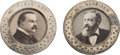 Political:Ferrotypes / Photo Badges (pre-1896), Grover Cleveland and Benjamin Harrison: Large Matching Badges....(Total: 2 Items)