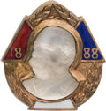 Political:Ferrotypes / Photo Badges (pre-1896), Grover Cleveland: Moonstone and Enamel Brooch....
