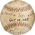 Baseball Collectibles:Balls, 1908 Chicago Cubs World Series Championship Last Out Baseball....
