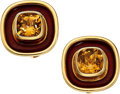 Estate Jewelry:Earrings, Citrine, Enamel, Gold Earrings. ... (Total: 2 Items)