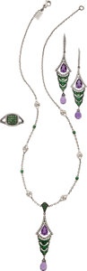Estate Jewelry:Suites, Multi-Stone, Diamond, Sterling Silver Jewelry Suite, BadgleyMischka. ... (Total: 4 Items)