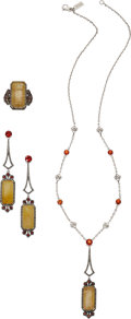 Estate Jewelry:Suites, Multi-Stone, Diamond, Sterling Silver Jewelry Suite, BadgleyMischka. ... (Total: 3 Items)