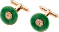Estate Jewelry:Cufflinks, Jadeite Jade, Gold Cuff Links. ... (Total: 2 Items)