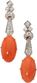 Estate Jewelry:Earrings, Coral, Diamond, White Gold Earrings. ... (Total: 2 Items)