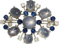 Estate Jewelry:Brooches - Pins, Sapphire, Diamond, Platinum, White Gold Brooch. ...