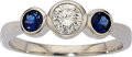 Estate Jewelry:Rings, Diamond, Sapphire, White Gold Ring. . ...