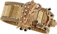 Lady's Diamond, Sapphire, Gold Bracelet-Watch