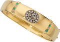 Estate Jewelry:Bracelets, Diamond, Emerald, Gold Bracelet. . ...