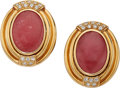 Estate Jewelry:Earrings, Rhodochrosite, Diamond, Gold Earrings. ... (Total: 2 Items)