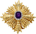 Estate Jewelry:Brooches - Pins, Amethyst, Diamond, Gold Brooch, Tiffany & Co.. ...